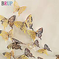 3D бабочки для декора 12 шт, ажурные наклейки - бабочки на стену, бабочки для штор. Золото 6.