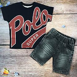 Футболка и джинсовые шорты Размеры: 1,2,3,4 года (20101-1)