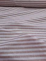 Льняная белая ткань в бежевую полоску