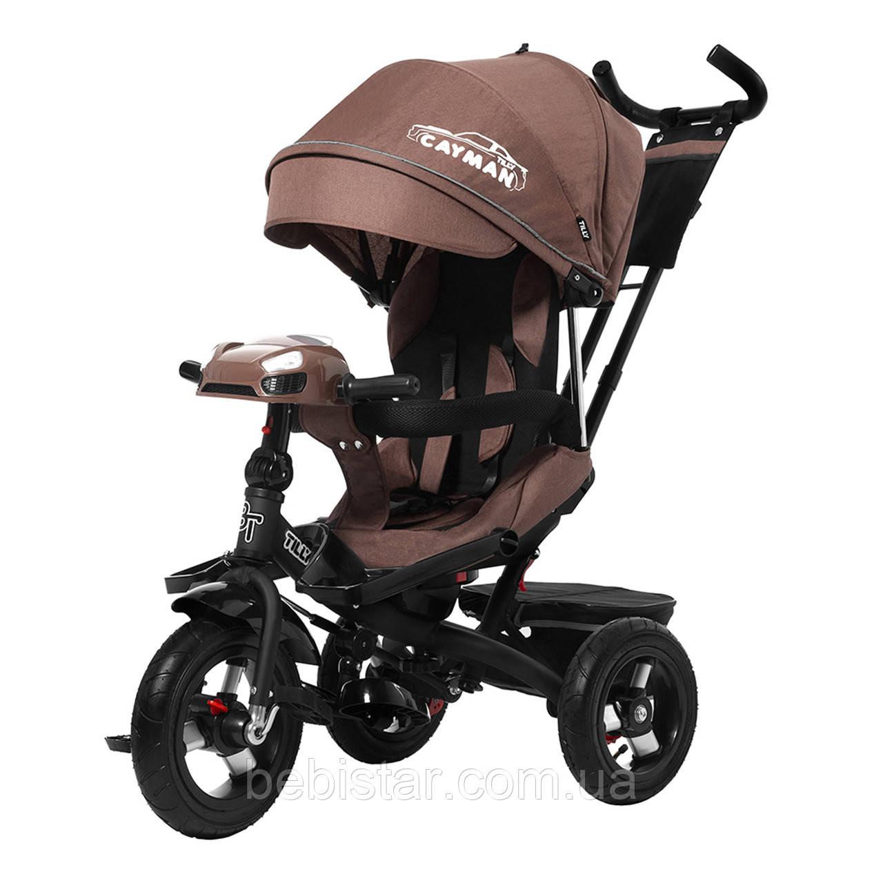 Триколісний велосипед TILLY CAYMAN Шоколадний льон посилена рама поворот сидіння надувн колеса музика і світло