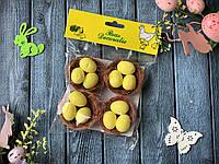 """Набор """"Коричневое гнездо из коричневой сезали с яйцами"""", 6 см,  4 шт/уп."""