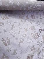"""Льняная скатертная ткань """"Новогодняя сказка"""" (шир. 160 см), фото 1"""