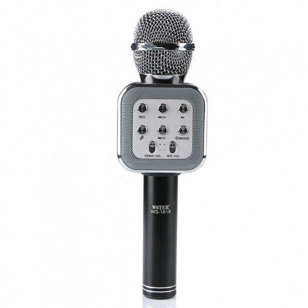 Ручной микрофон караоке для пения, беспроводный с динамиком (Bluetooth) WS-1818 черный (Реальные фото)