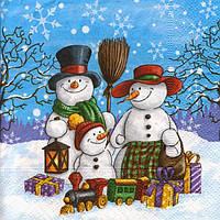 Редкая салфетка для декупажа Семья снеговиков 5032