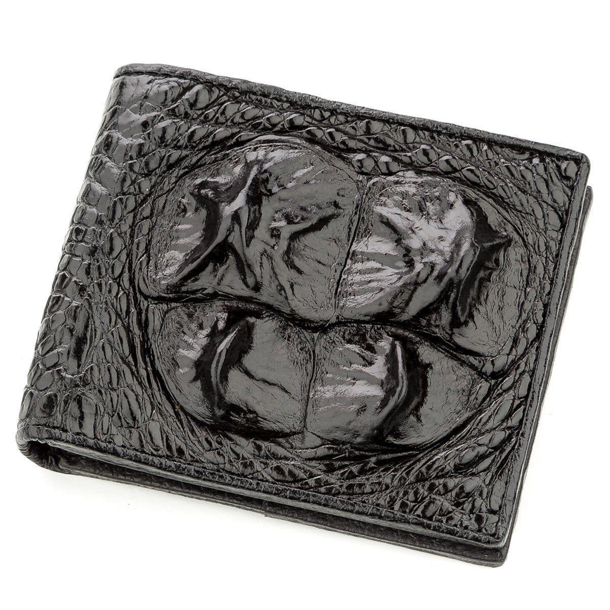 Бумажник мужской CROCODILE LEATHER 18582 из натуральной кожи крокодила Черный