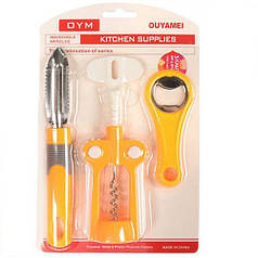 Кухонный набор штопор, открывашка, нож для овощей HLV R21060