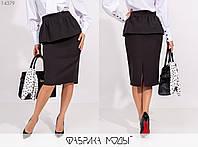 Женская юбка из эко-кожи (3 цвета) АК/-15820 - Черный, фото 1