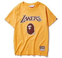 ✔️ Футболка Bape x Lakers топовая летняя из хлопка с принтом жёлтая мужская женская бейп