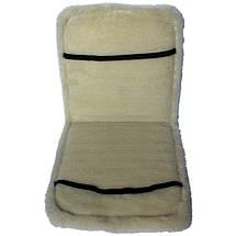 Меховая накидка из овчины на сиденье Серая с окантовкой, фото 3