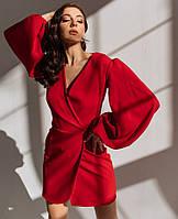 Стильное платье фасона на запах с пышными рукавами