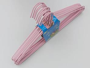 Плечики металлические в полиэтиленовом покрытии нежно-розового цвета, 39,5 см, 10 штук в упаковке