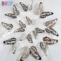 3D бабочки для декора 12 шт, ажурные наклейки - бабочки на стену, бабочки для штор. Хром 7.