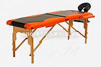 Массажный стол профессиональный Body Fit, кушетка деревянная, 2-хсегментный стол для массажа (Черно-оранжевый)