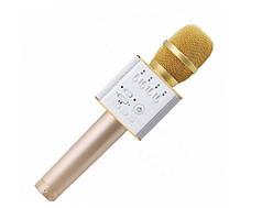 Беспроводной микрофон караоке блютуз Q9 Bluetooth динамик USB Золотой В ЧЕХЛЕ (45121)
