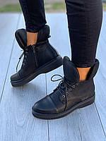 Ботинки женские Евро-Мех 8 пар в ящике черного цвета 36-40, фото 2