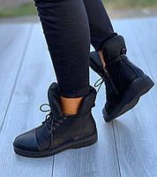 Ботинки женские Евро-Мех 8 пар в ящике черного цвета 36-40, фото 3