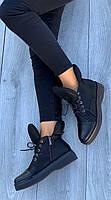 Ботинки женские Евро-Мех 8 пар в ящике черного цвета 36-40, фото 4