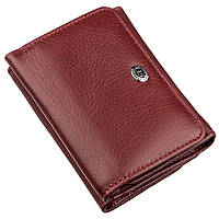 Компактный женский бумажник на кнопке ST Leather 18885 Темно-красный