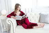 Комплект пижамный женский бархатный с кружевом из 4 предметов, размер L (бордовый), фото 7