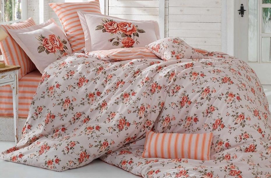 Постельное белье 2-спальное евро HOBBY Flora персик