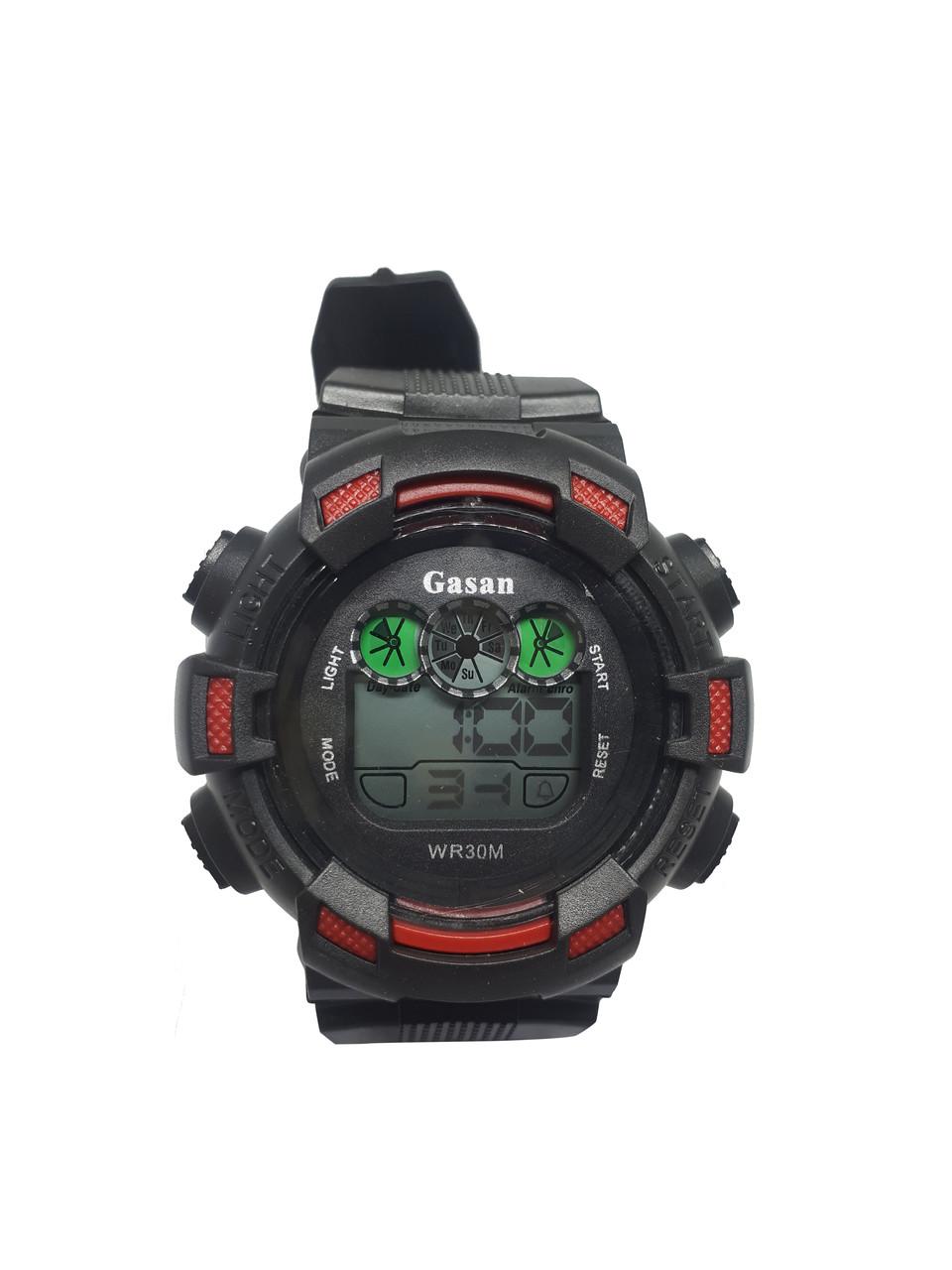 Часы электронные в пластиковой колбе Gasan с красными вставками