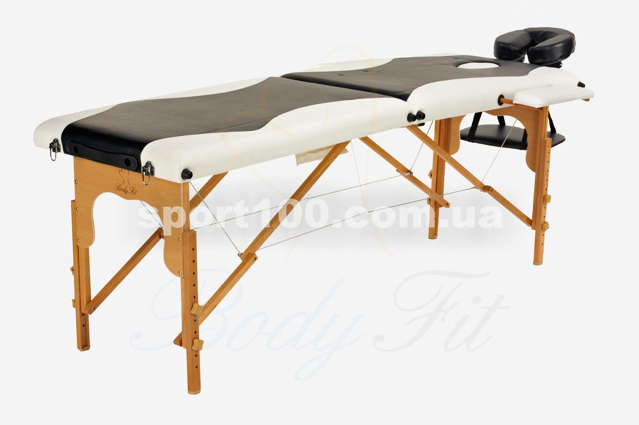 Массажный стол профессиональный деревянный 2-х сегментный Body Fit (Черно-белый)