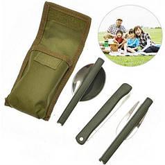Туристический набор Lesko 3 в 1 складных столовых инструментов походный нож, вилка, ложка