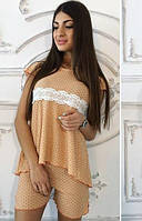 Пижама женская бежевая комплект 26549