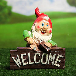 Гном строитель Welcome 28 см - гипс садовый декор