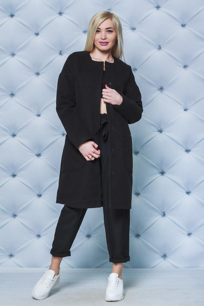 Черное кашемировое пальто 42-52 рр.