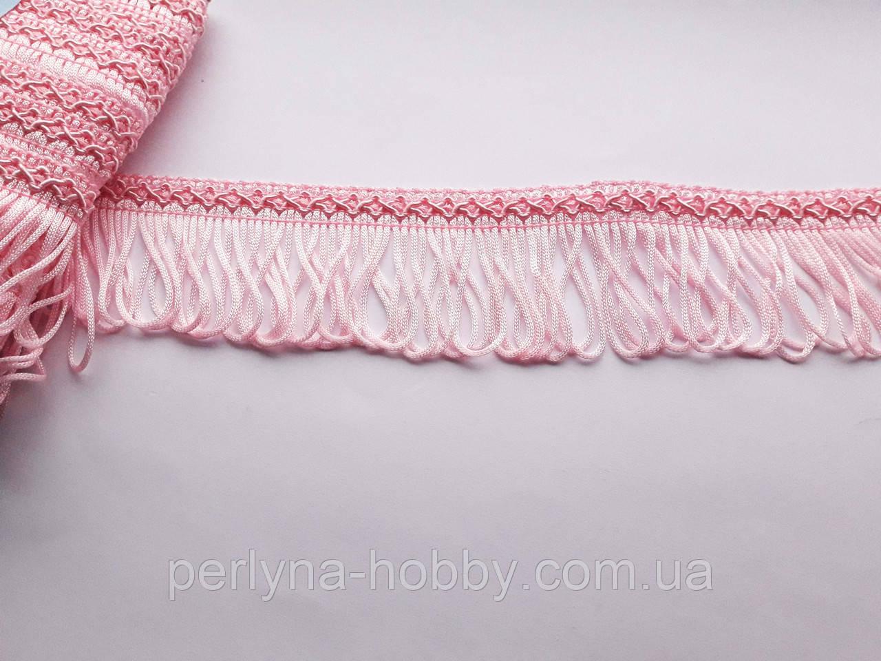 Бахрома декоративна шовкова, рожева сітла 5см. БД 0102