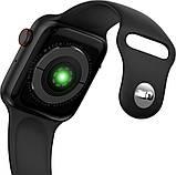 Розумні смарт годинник з функцією Antilost стильні IWO 10 Lite з сенсорним екраном чорні, фото 3