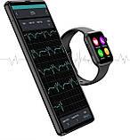 Розумні смарт годинник з функцією Antilost стильні IWO 10 Lite з сенсорним екраном чорні, фото 5