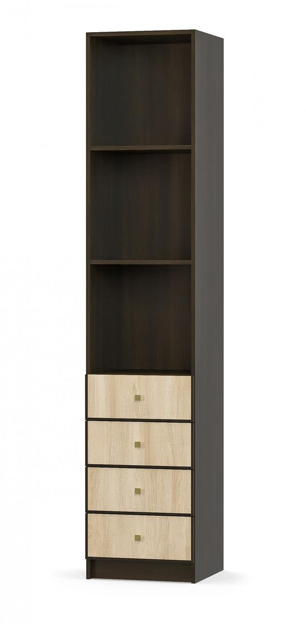 Пенал 4Ш Фантазия венге темный + дуб самоа Мебель Сервис (45х43.4х216 см)