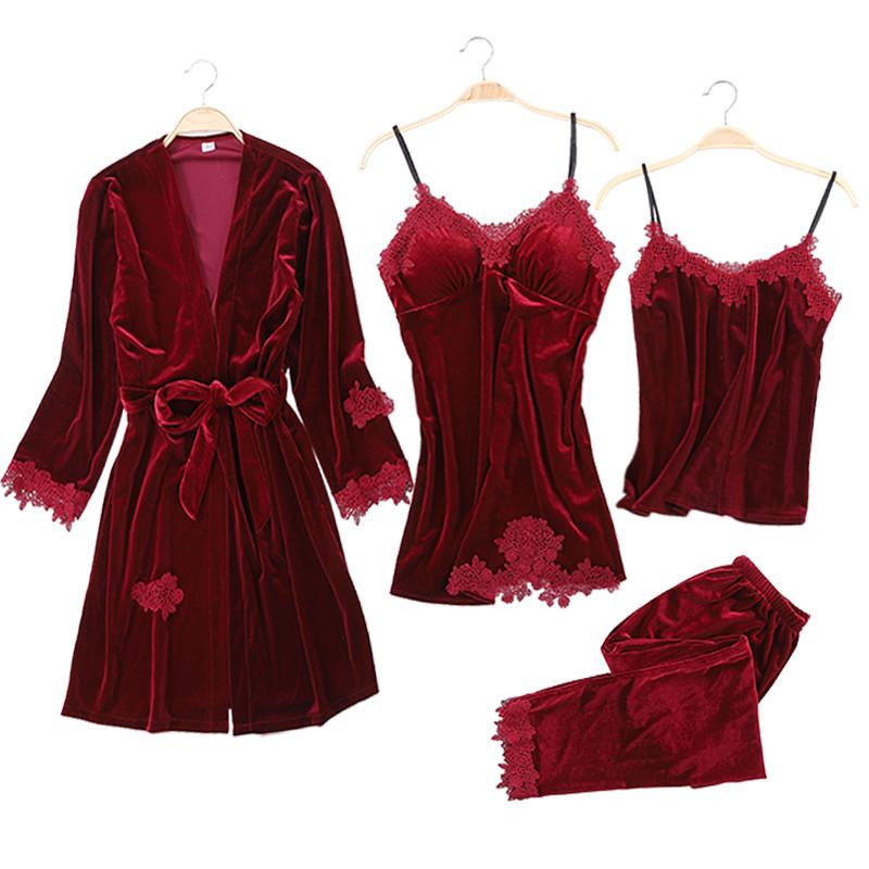 Комплект пижамный женский бархатный с кружевом из 4 предметов, размер L (бордовый)