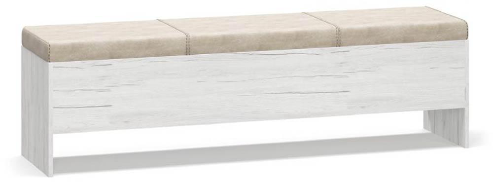 Банкетка Ким Дуб кари белый + Сан-рено Мебель Сервис (164.4х40х44.5 см)