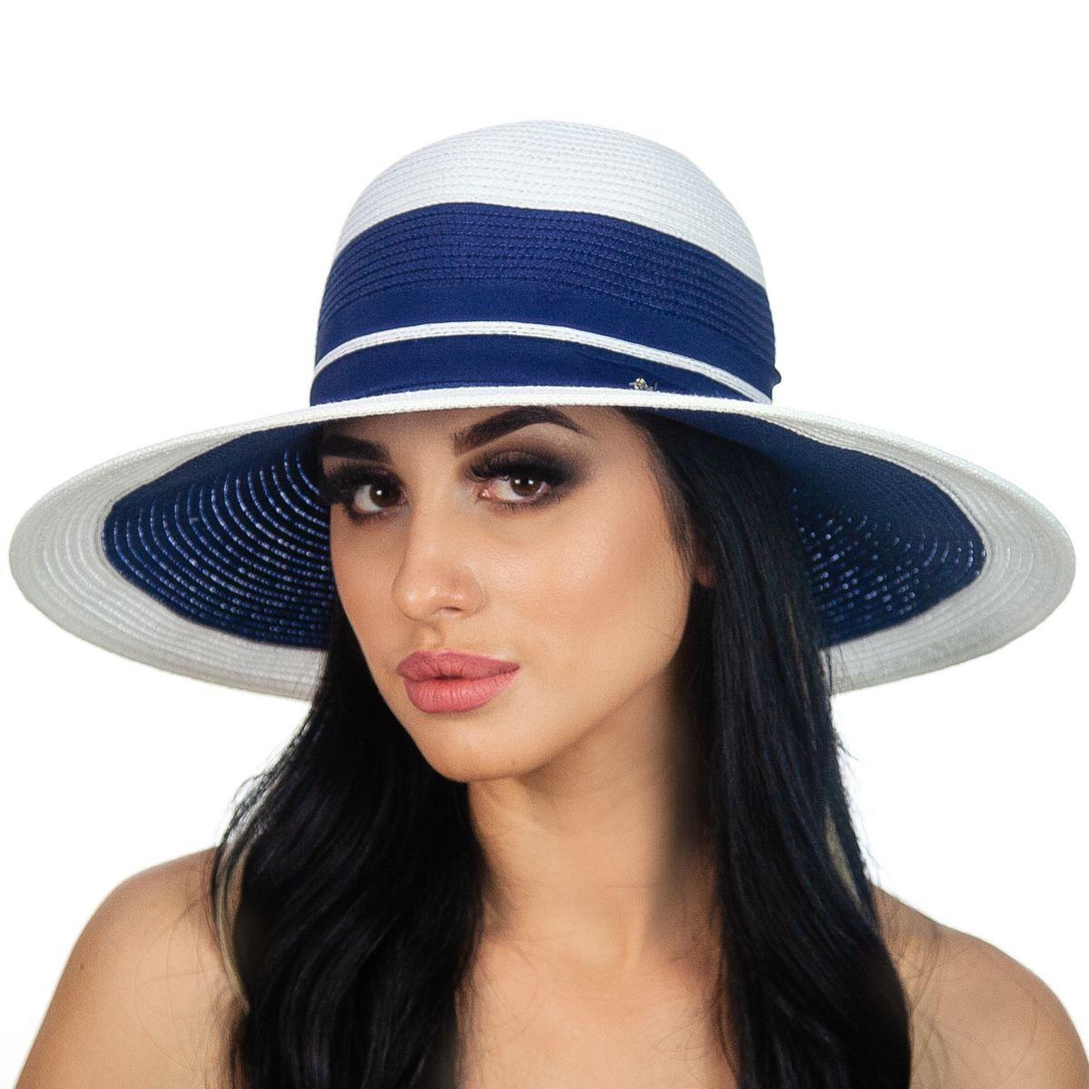 Жіноча капелюх з полями середньої ширини колір синій з білим