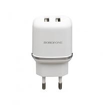 Мережевий зарядний пристрій Borofone BA25A 2.1A, 2 USB White