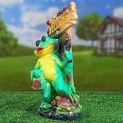 Лягушка с молотком и корзиной Welcome 28 см гипс - садовый декор
