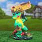Лягушка с молотком и корзиной Welcome 28 см гипс - садовый декор, фото 2