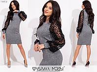 Трикотажное платье женское (3 цвета) SD/-711 - Серый, фото 1