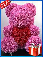 Мишка из 3D роз 40см в красивой подарочной упаковке мишка Тедди из роз оригинальный подарок девушке - РОЗОВЫЙ