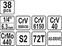 Набор торцевых головок 38 предметов YATO YT-14471, фото 5