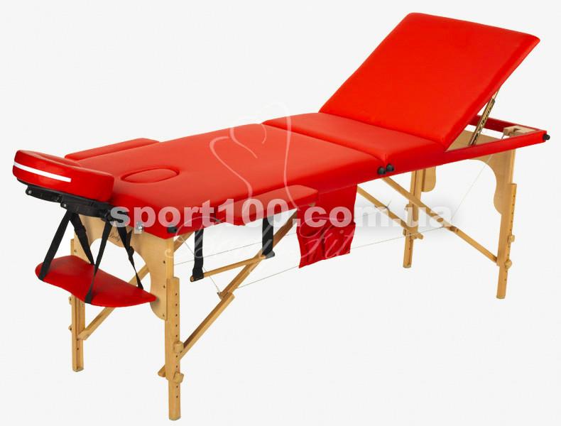 Массажный стол профессиональный деревянный 3-х сегментный Body Fit (Красный)