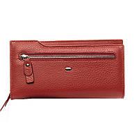 Женский кожаный кошелек -клатч 19,5*10,5*3 бордовый, фото 1