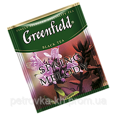 "Чай  черный в пакетиках  Greenfield ""Spring melody"" 100шт Чебрец с мятой"