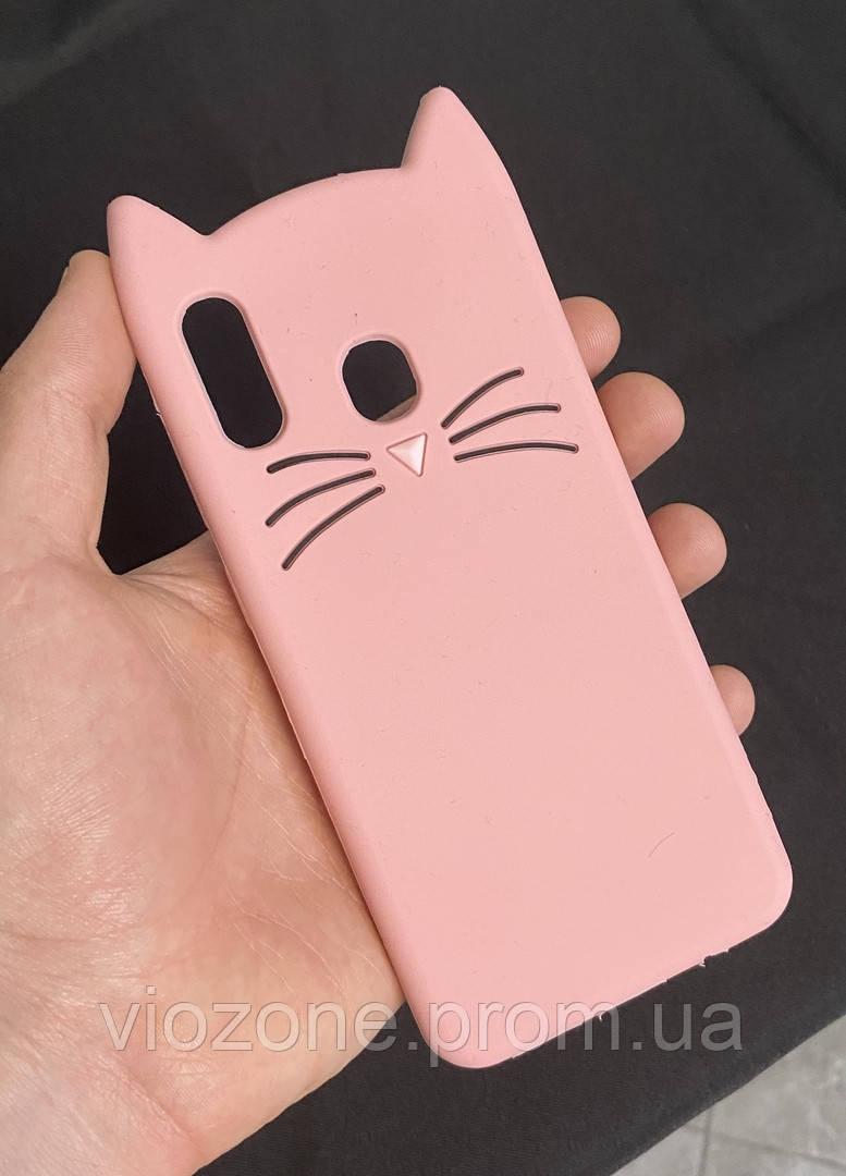 3d Чехол Бампер для Samsung Galaxy A20 (A205) резиновый Розовый Кот
