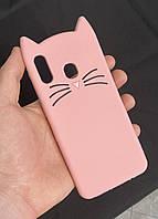 3d Чехол Бампер для Samsung Galaxy A30 (A305) резиновый Чёрный Кот