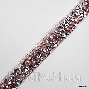 Стразовое термо полотно, 1×40 см, Цвет: Розовый (40 см/шт.)
