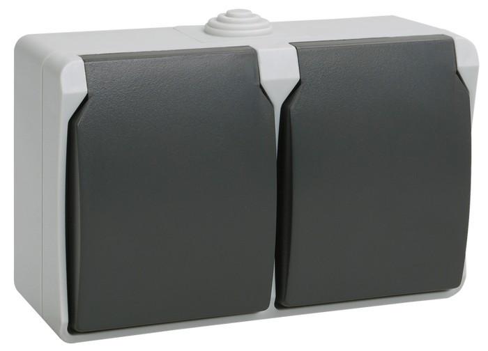 Розетка двухместная с крышкой для открытой установки с заземл. конт. 16 А/250 В~РСб22-3-ФСр IP54